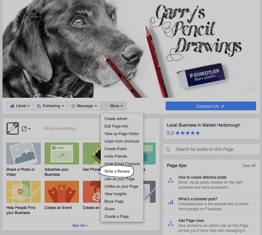 facebook write a review for Garry's Pencil Drawings