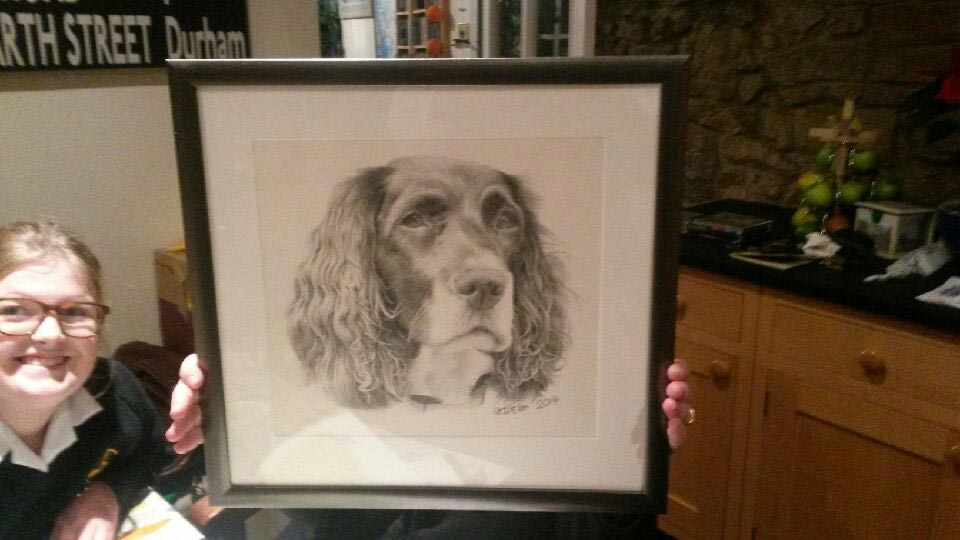 Pippa dog drawing framed
