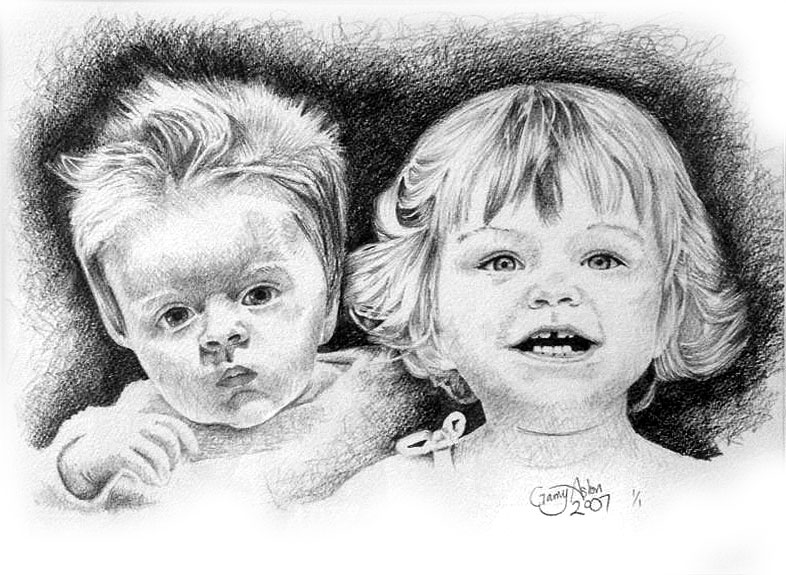 Drawing of a brother and sister
