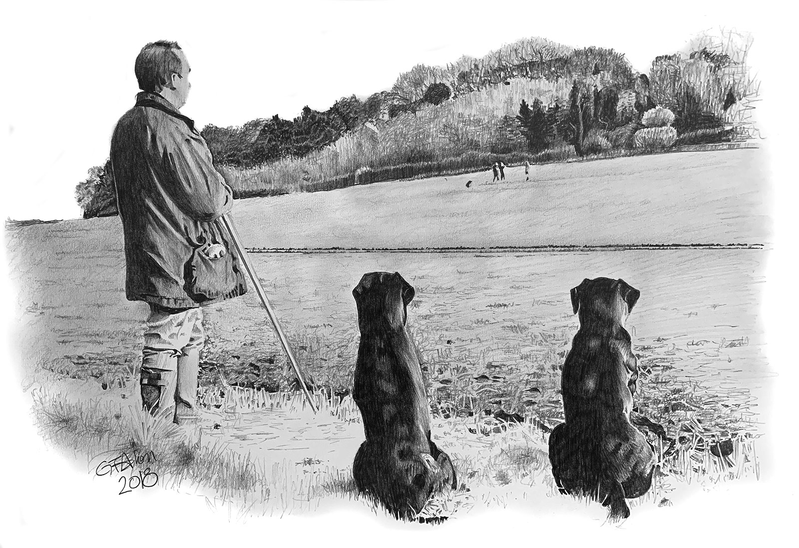 Pencil portrait of brother and his black labradors